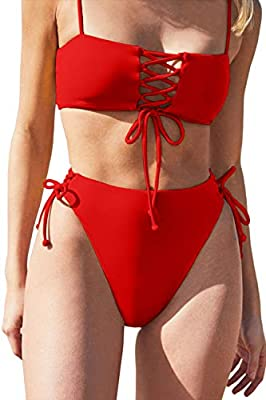 Excellent quality: The smooth and seamless fabric material is more stretchy, which makes you more comfortable and soft This bikini top boasts adjustable straps, square neckline, Bandeau,lace-up front, and a cropped silhouette,double fabric,removeable...