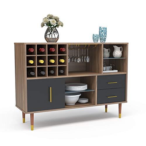Mecor Kitchen Sideboard Buffet Storage Cabinet Server Cupboard Console Table W Wine Rack Goblet Rail Open Shelves And Drawers Walnut Black Wine Racks Shop