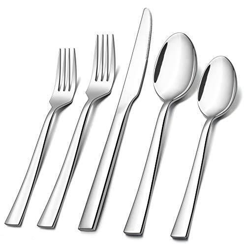 40-Piece Silverware Set, E-far Stainless Steel Flatware Set Service for 8, Modern Tableware Cutlery Set for Home and Restaurant, Square Edge & Mirror Finish, Dishwasher Safe