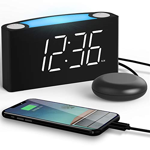 ROCAM Digital Alarm Clock with Bed Shaker Shaking Alarm Clock, LED Alarm Clock,Sonic Boom Alarm Clock, Large LED Wall Display with Dimmer,7 Colored Night Light for Heavy Sleeper,Teen,Elderly, Kids