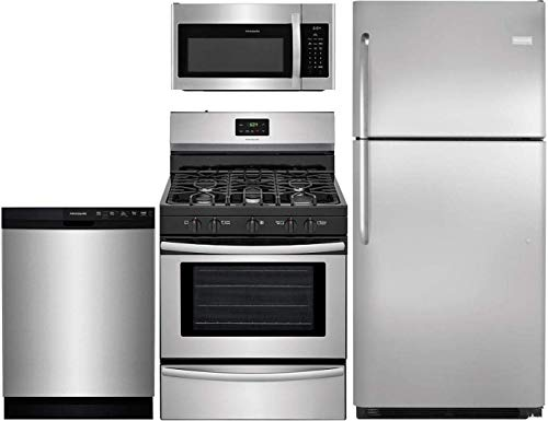 """Frigidaire 4-Piece Kitchen Package with FFTR2021QS 30"""" fridge, FFGF3052TS 30"""" Gas Range, FFMV1645TS 30"""" Over the Range Microwave and FFBD2412SS 24"""" Built In Full Console Dishwasher in Stainless Steel"""