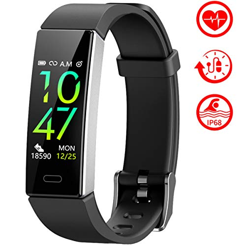 Mgaolo Fitness Tracker,2020 Version IP68 Waterproof Activity Tracker with Blood Pressure Heart Rate Sleep Monitor,10 Sport Health Fit Smart Watch with Pedometer for Fitbit Bit Men Women Kids (Black)