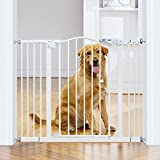 """InnoTruth Wide Baby Gate for Dogs, Auto Close Pet Gate 29"""" to 39.6"""" Width with 30"""" Height, Tall Safety Coverage for Stairs, Doorways, Bedrooms, Wall Pressure Mount, White"""