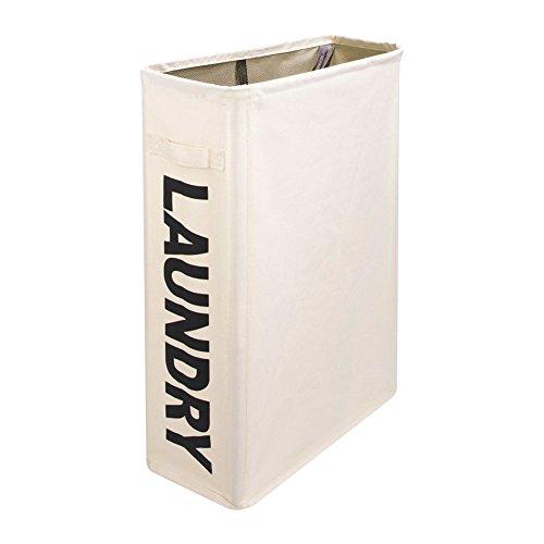 Famtasme Wäschekörbe Wäschesammler Wäschebox mit Rollen Fassungsvermögen 40L, Beige, 100 % Polyester, 39×18,5×56cm
