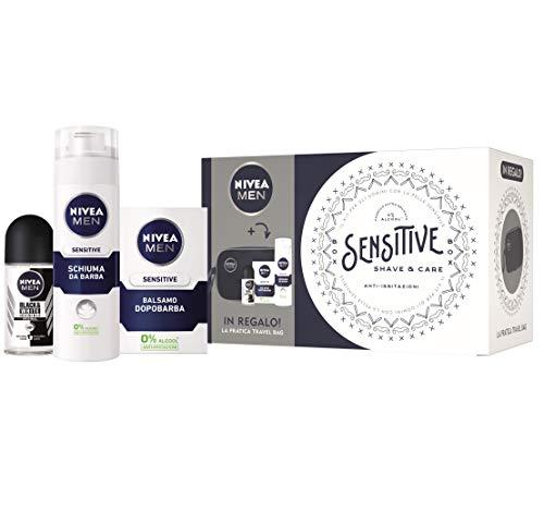 Nivea Men Sensitive Shave & Care Kit, Set Regalo Uomo con Balsamo Dopobarba Sensitive 100 ml, Schiuma da Barba Sensitive 200 ml, Invisible Black & White Deodorante Roll-on e Trousse da Viaggio