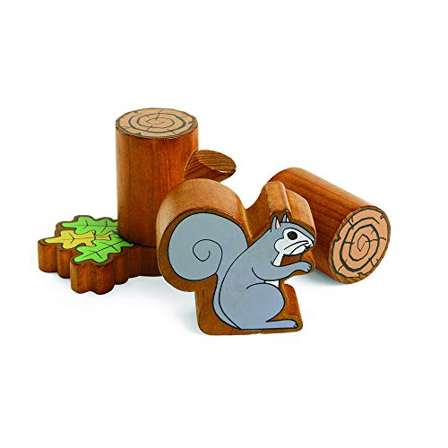 Excellerations 2-1/4 inch Nature Tree and Squirrel Log and Leaf Block Set of 46, Kids Toy, Building, Preschool