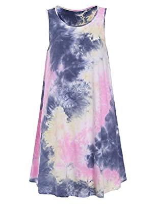 "Loose tie dye tank dress for Junior teen girls(age16-20), Petite Women(Not taller than5'9"", 80lbs-160lbs) Attention: As a long tunic top for you if you're taller than 5'9"", weight more than 160lbs. Material: Cotton+Spandex, very stretchy fabric, ligh..."