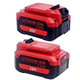 Lasica 2 Pack V20 5.0Ah Lithium Ion Battery Replacement for Craftsman V20 20V Battery CMCB204-2, CMCB202-2, Compatible with Craftsman V20 Cordless Drill Tools Battery and Craftsman V20 Charger