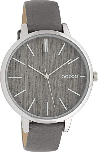 Oozoo Damenuhr mit Lederband 42 MM Holz/Grau C9745