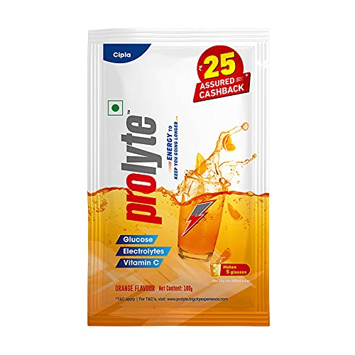Prolyte Glucose Energy Powder with Electrolytes, Vitamin C, Instant Hydration Drink |Orange Flavour-100Gm (Pack of 10)