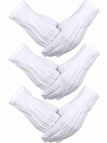3 Paia Guanti di Cotone Nylon Bianco Parata Costume per la Polizia Formale Smoking Onore Guardia e...
