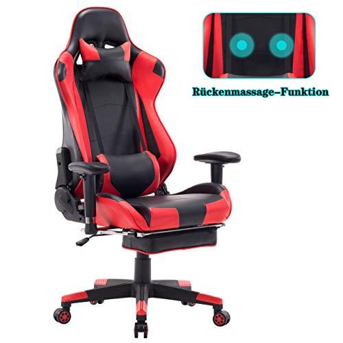 Wolmics Gaming Stuhl - Massagefunktion mit hoher Rückenlehne, versenkbare Fußstütze, verstellbare Armlehne und Lendenkissen aus Leder im Rennstil für Computertisch oder als Leder Bürostuhl Wein