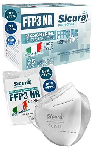 Eurocali 25 Mascherine FFP3 Certificate CE Italia Made in Italy BFE ≥99%   PFE ≥99% Mascherina ffp3 SANIFICATA e...
