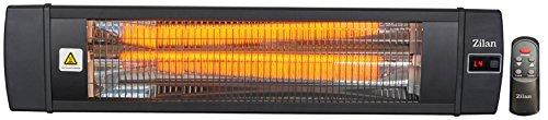 Karbon Heizstrahler | Terrassenstrahler | Heizgerät | Infrarotstrahler | Carbonstrahler | 2000 Watt | Display | Karbonlampe | Timer | Fernbedienung | Spritzwasser geschützt | Überhitzungsschutz