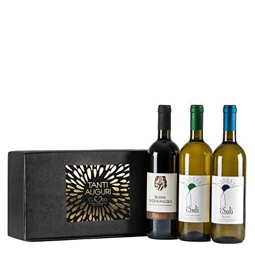 Cesto Regalo Vini Liguri - Confezione Vini Liguria con Rossese D.O.C. di Dolceacqua, Vermentino e Pigato Riviera Ligure di Ponente D.O.C.