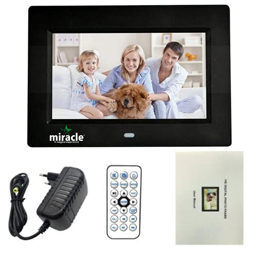 Miracle Digital 7 inch Digital Photo Frame Hi-def. LCD Screen Remote connectivity USB Disk SD Card...