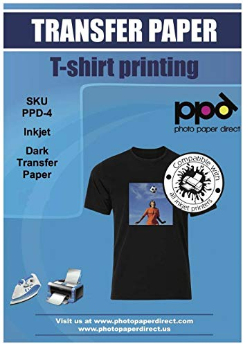 PPD Inkjet PREMIUM Iron-On Dark T Shirt Transfers Paper LTR 8.5x11'...