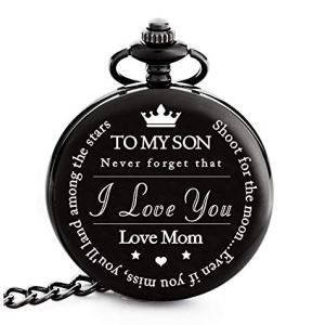 "To My Son | Mother and Son – Graduation Gifts for Him 2020 – Engraved ""To My Son Love Mom"" Pocket Watch – Perfect Gifts for Son from Mom for Christmas, Valentines Day, Birthday"