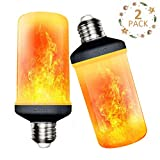 LED Flame Effect Light Bulbs, Calmsen E26 E27 Flickering Fire Light Bulbs with 4 Modes, 3W Flame Bulb for Christmas, Home Decor, Party, Restaurant, Outdoor - 2 Pack