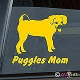 Puggles Mom Sticker Vinyl Auto Window Park v3 Standard Yellow Gold Custom 5.50' x 5.12'