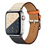 Leather Band Compatible with iWatch 44mm 42mm Genuine Leather Strap Watch Bands Replacement for...