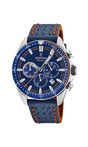 Festina Herren Chronograph Quarz Uhr mit Leder Armband F20377/2