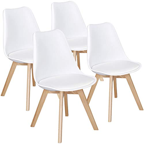 Yaheetech Dining Chairs PU Side Chair DSW Chair Accent Shell Chair with Beech Wood Legs Modern Mid Century Eiffel Inspired Chair Upholstered Dining Room Living Room Bedroom Kitchen Chairs White,4Pcs