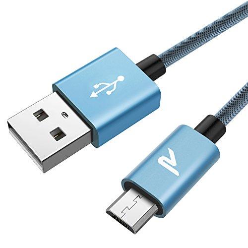 Rampow Cavo USB Micro USB [ 6.5ft/2m ] Carica Rapida 2.4A e Trasferimento Dati Nylon Antigroviglio - Cavo Caricatore Compatibile per Android, Samsung S7/S6/J5, Nexus, Huawei, Kindle - Blu