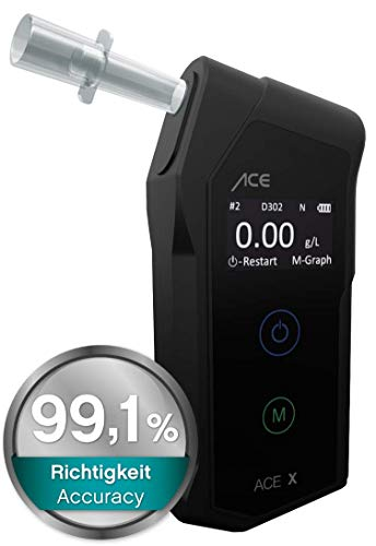 ACE X Etilometro Portatile Personale - Professionale Alcol Test Digitale - Affidabili, Compatti - Elevato Grado di Precisione 99,1%