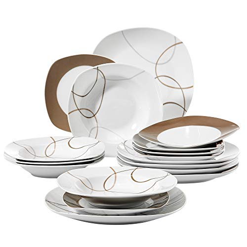 VEWEET Nikita Dinnerware Sets 18 Porcelain Pieces with 6 Plates, 6 Deep Plates and 6 Dessert Plates for 6 People