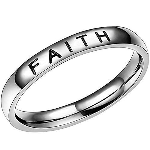 4mm Stainless Steel Love Faith Hope Mantra Inspirational...