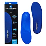 Powerstep mens Pinnacle Arch Support Orthotic Insert for Plantar Fasciitis Workout Equipment Home Workouts, Blue, Men s 14-15 US