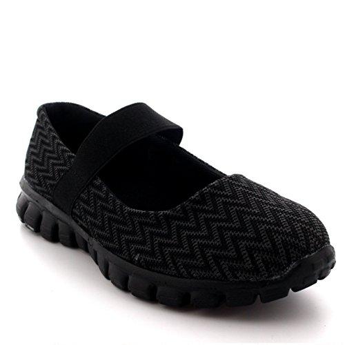 Mujer Corriendo Caminando Bajo Top Deportes Trabajo Zapatos Mary Jane Entrenadores - Negro - UK3/EU36 - BS0057