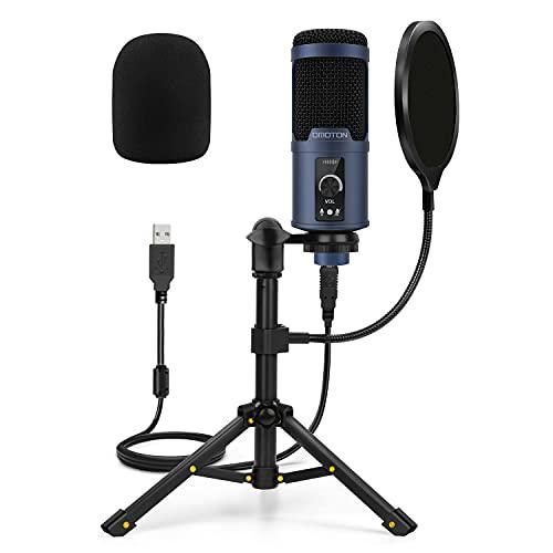 Micrófono USB Podcast PC, OMOTON Kit de Micrófono Condensador...