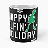 Happy Holiday Elfin Classic Mug - The Funny Coffee Mugs For Halloween, Holiday, Christmas Party Decoration 11 Ounce White Laqued.