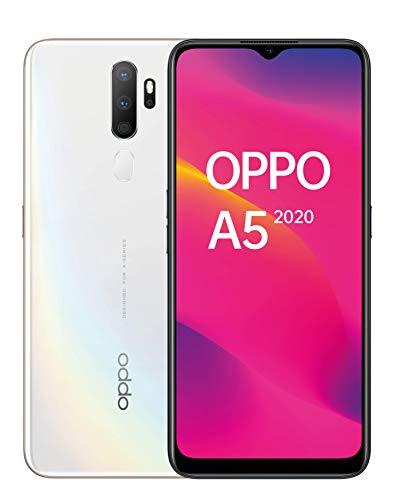 "OPPO A5 2020 - Smartphone de 6.5"" HD+, 4G Dual SIM, 3 GB/ 64 GB, Qualcomm Snapdragon 665 Octacore, cámara trasera 12 Mpx + 8 Mpx (gran angular) + 2 Mpx + 2 Mpx, 5.000 mAh, Android 9, Blanco"
