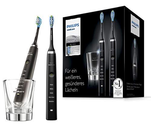 Philips Sonicare Elektrische Zahnbürste Doppelpack HX9357/87, 2 Schallzahnbürsten mit 5 Putzprogrammen, Timer und Ladeglas, schwarz