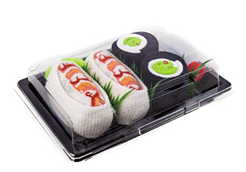 Rainbow Socks - Donna Uomo - Calzini Sushi Shrimp Nigiri Cetriolo Maki - 2 Paia - Taglia 36-40