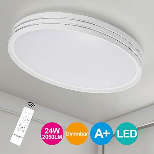 SHILOOK Led Deckenleuchte Dimmbar mit Fernbedienung, 24W Modern Deckenlampe Schlafzimmer Sternenhimmel 3000K-6500K 2050LM, Rund Weiß 40cm