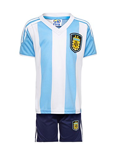 Sportyway Boy's and Women's Polyester Argentina Football Jersey Set (Multicolour, 12-13 Years)
