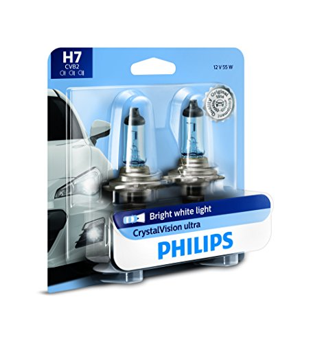 Philips H7 CrystalVision Ultra Upgraded Bright White Headlight Bulb, 2 Pack