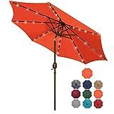Blissun 9 ft Solar Umbrella, 32 LED Lighted Patio Umbrella, Table Market Umbrella, Outdoor Umbrella for Garden, Deck, Backyard, Pool and Beach (Orange)