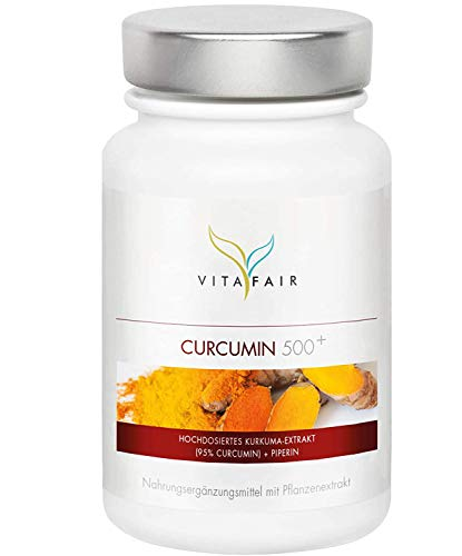 VITAFAIR Curcuma Extrakt (1000mg hochdosiert pro Tag), German Quality - 90 Kurkuma Kapseln mit 95{6b9274418e2c1e5fe285bde71dabdfd525fa6e637d8e8306303809fd3954cffd} = 950mg (BCM95) pro Tagesdosis, Curcumin & Piperin, Kurkumin Kapseln vegan & ohne Magnesiumstearat