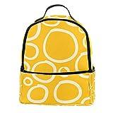 KAMEARI Mochila escolar círculo blanco fondo amarillo casual para viaje con bolsillos laterales para botella