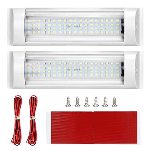 Suparee, luci a LED da soffitto per camper, roulotte, camper, roulotte, camper, furgone, barca, con interruttore on/off, bianco (confezione da 2) + cavo di estensione