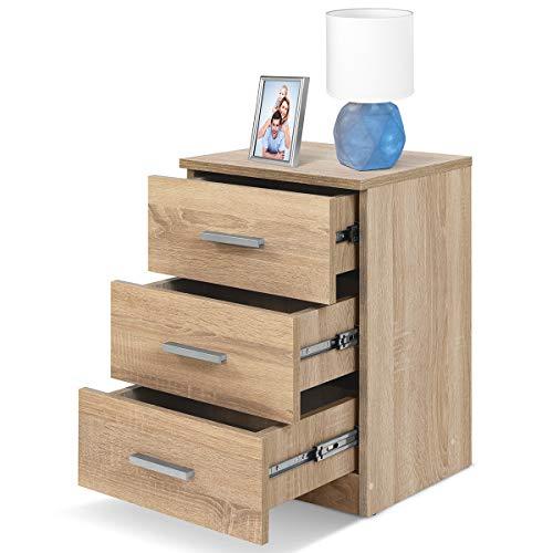 COMIFORT Mesa de Noche - Mesita Auxiliar para el Dormitorio de Estilo Nórdico, Moderna y Minimalista, con 3 Espaciosos Cajones, Muy Resistente, de Color Roble