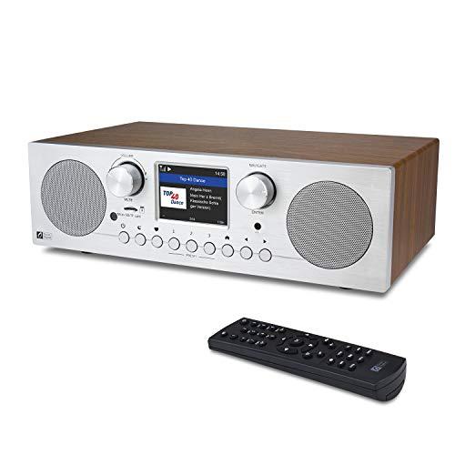 Ocean Digital WR-800F Radio internet WiFi FM avec double réveil, minuteur de sommeil, lecture de carte Micro SD/TF et écran couleur 2,8 pouces, support UPnP et DLNA