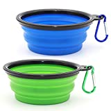 Collapsible Dog Bowl, 2 Pack Collapsible Dog Water Bowls for Cats Dogs, Portable Pet Feeding Watering Dish for Walking Parking Traveling with 2 Carabiners (Small, Blue+Green)