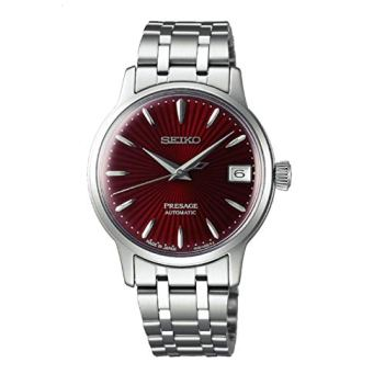 SEIKO PRESAGE Automatic Ladies Cocktail 'Kir Royal' Red Dial Steel Watch SRP853J1