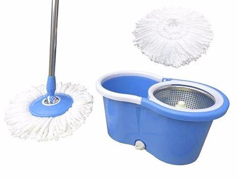 Balde Mop Esfregao Inox De Limpeza Para Casa Centrifuga 360 Rodas Azul (BSL-MOP-3)